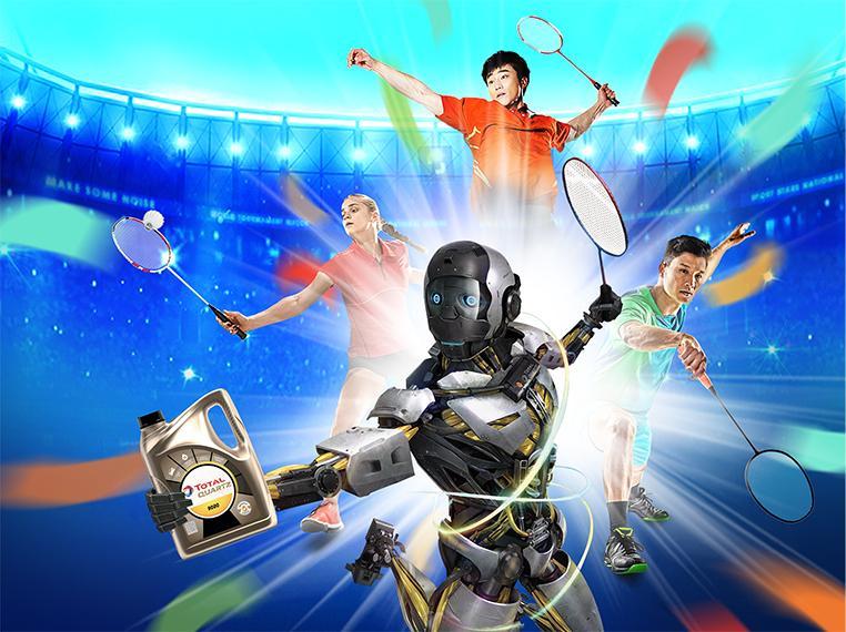 Robot Quartz with badminton racket